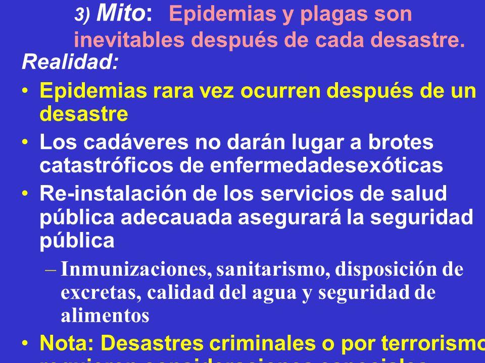 3) Mito: Epidemias y plagas son inevitables después de cada desastre. Realidad: Epidemias rara vez ocurren después de un desastre Los cadáveres no dar