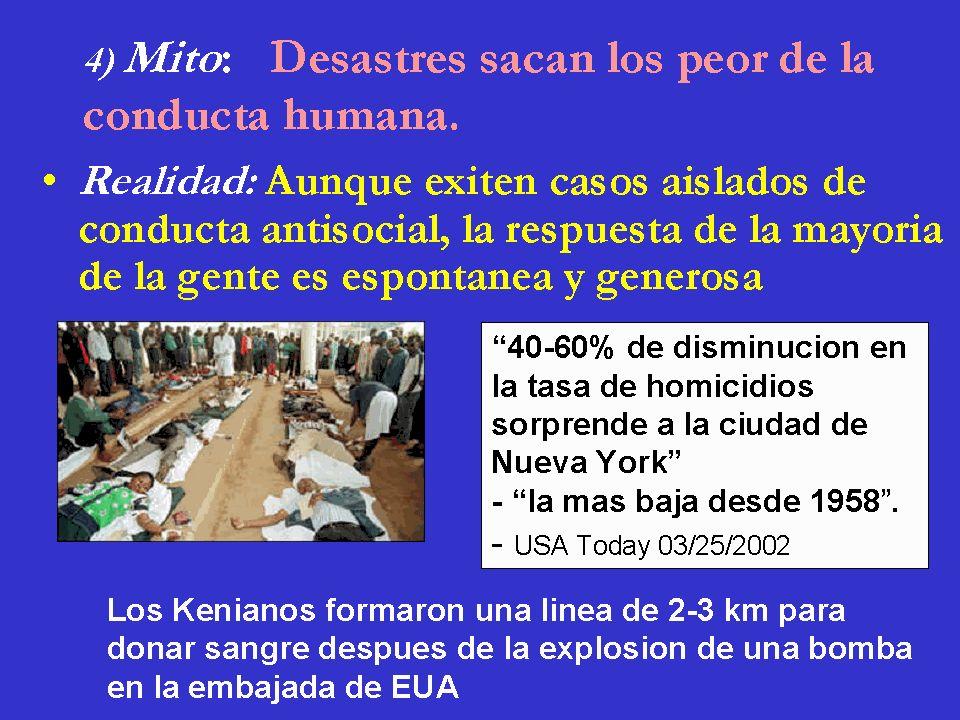 4) Mito: Desastres sacan los peor de la conducta humana. Realidad: Aunque exiten casos aislados de conducta antisocial, la respuesta de la mayoría de