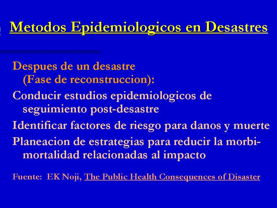 Métodos Epidemiológicos en Desastres Después de un desastre (Fase de reconstrucción): Conducir estudios epidemiológicos de seguimiento post-desastre I