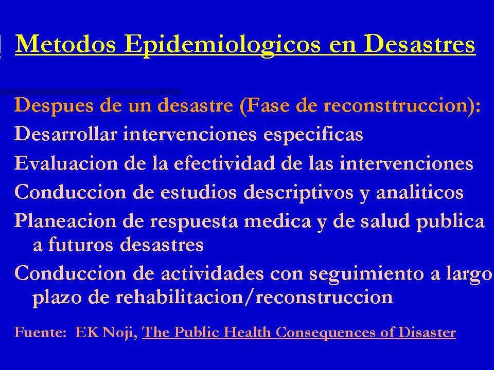 Métodos Epidemiológicos en Desastres Después de un desastre (Fase de reconsttrucción): Desarrollar intervenciones específicas Evaluación de la efectiv