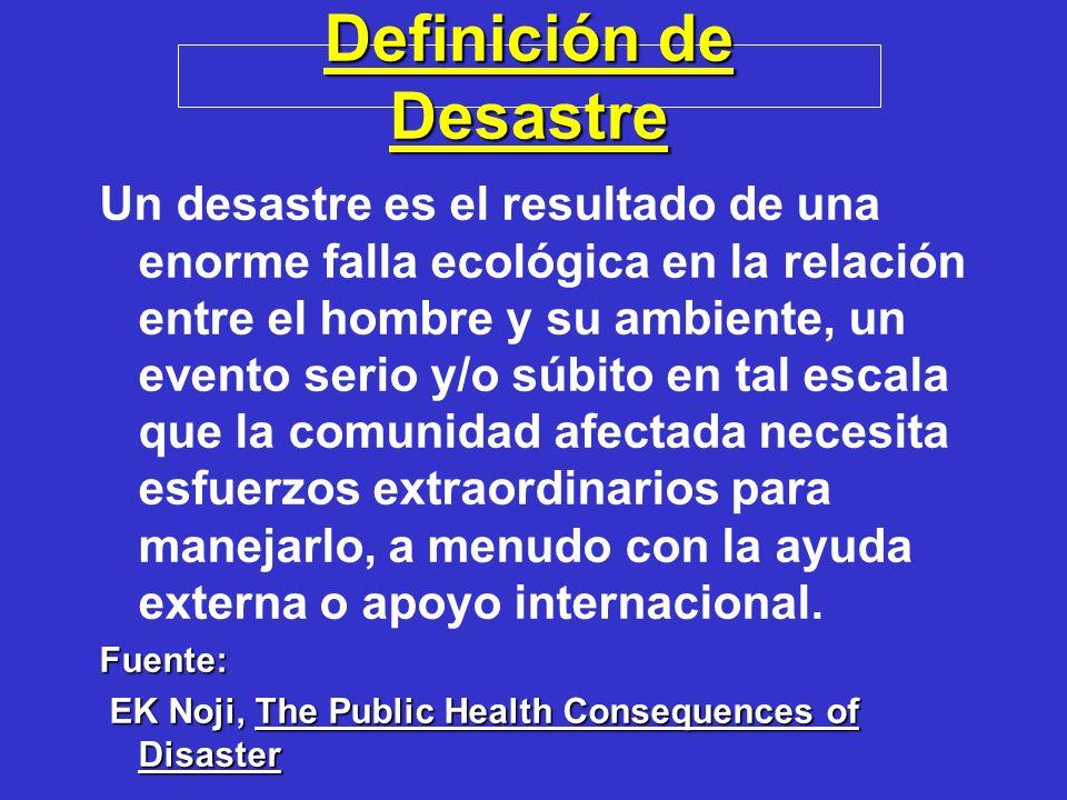 Definición de Desastre Un desastre es el resultado de una enorme falla ecológica en la relación entre el hombre y su ambiente, un evento serio y/o súb