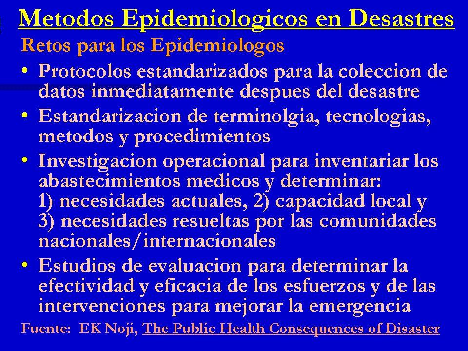 Métodos Epidemiológicos en Desastres Retos para los Epidemiólogos Protocolos estandarizados para la colección de datos inmediatamente después del desa