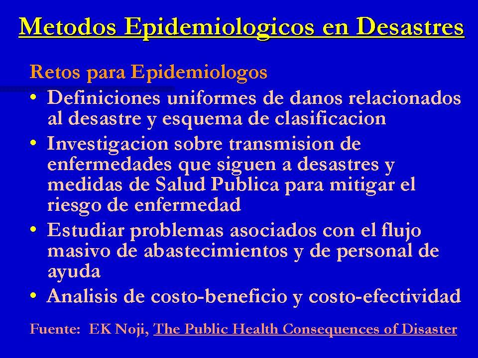 Métodos Epidemiológicos en Desastres Retos para Epidemiólogos Definiciones uniformes de daños relacionados al desastre y esquema de clasificación Defi