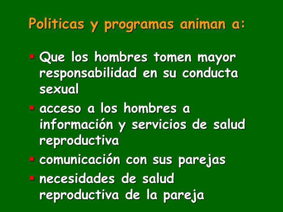 Politicas y programas animan a: Que los hombres tomen mayor responsabilidad en su conducta sexual Que los hombres tomen mayor responsabilidad en su co