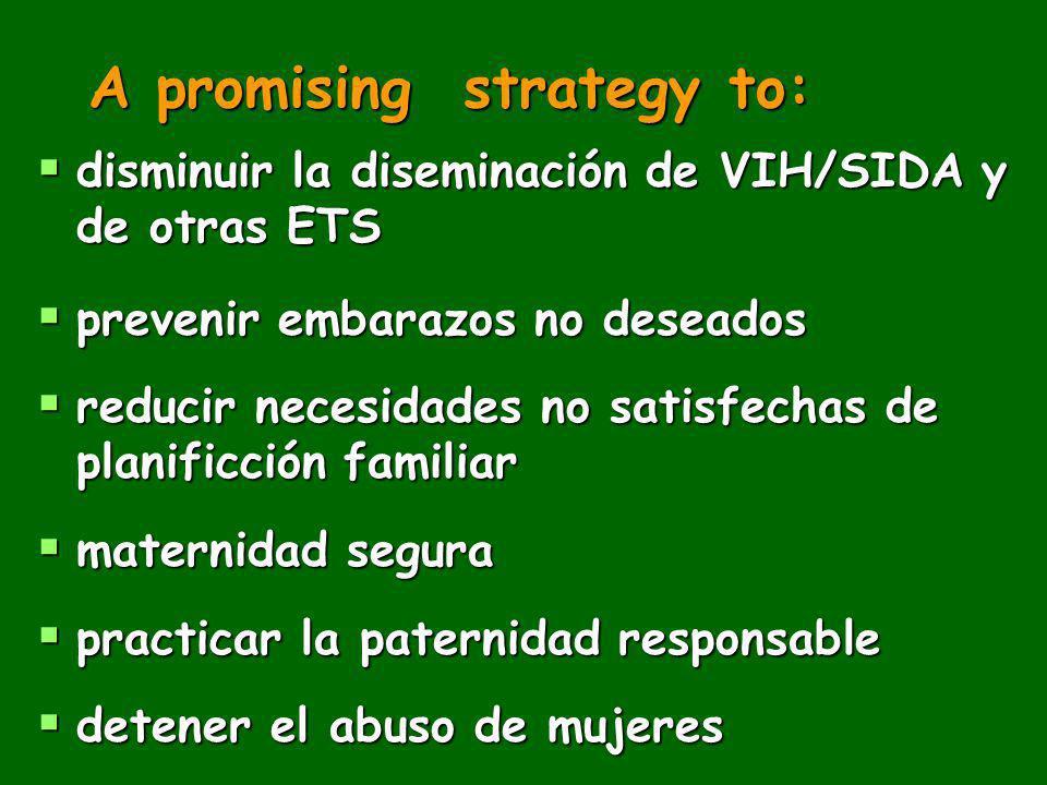 A promising strategy to: disminuir la diseminación de VIH/SIDA y de otras ETS disminuir la diseminación de VIH/SIDA y de otras ETS prevenir embarazos