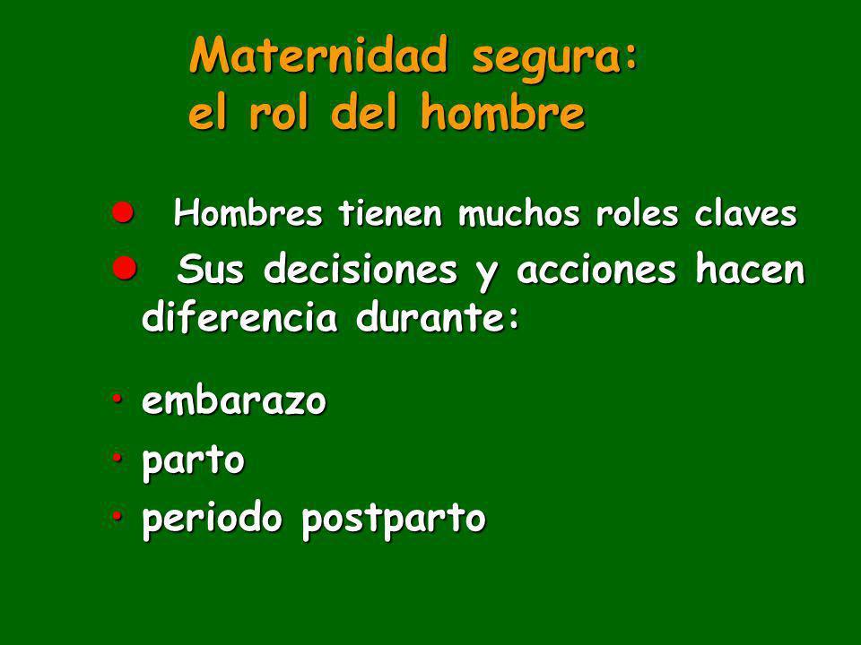 Maternidad segura: el rol del hombre l Hombres tienen muchos roles claves l Sus decisiones y acciones hacen diferencia durante: embarazoembarazo parto