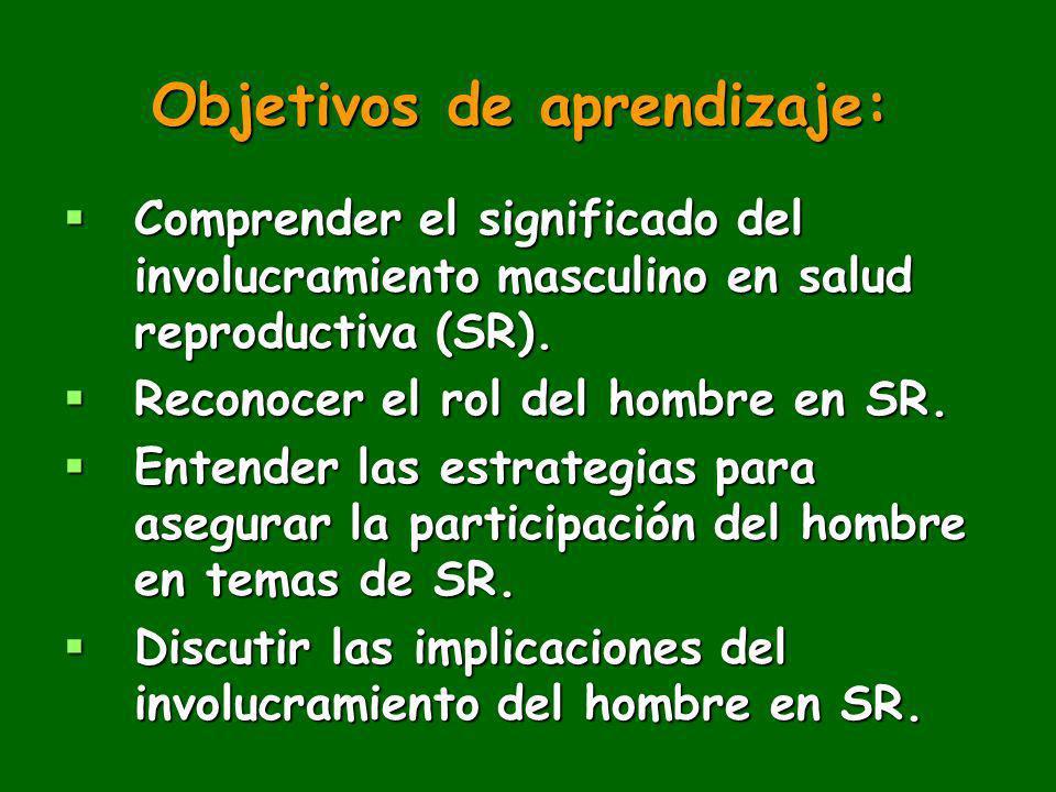 Objetivos de aprendizaje: Comprender el significado del involucramiento masculino en salud reproductiva (SR). Comprender el significado del involucram