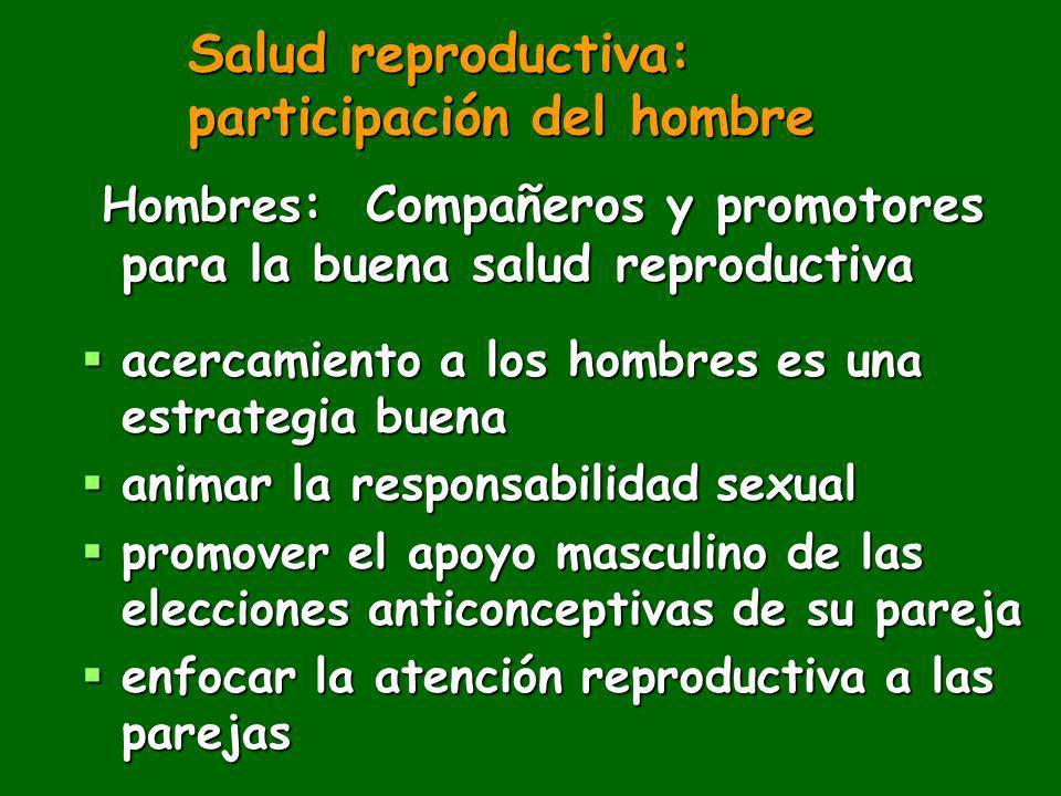 Salud reproductiva: participación del hombre Hombres : Compañeros y promotores para la buena salud reproductiva Hombres : Compañeros y promotores para