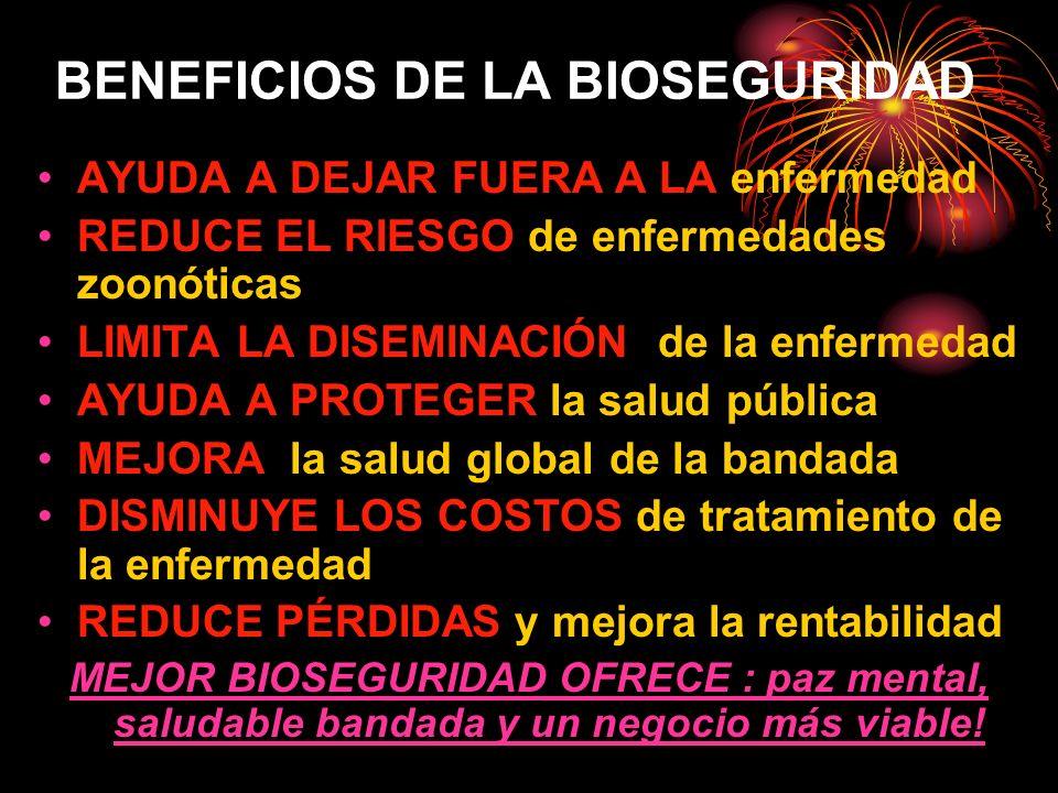 BENEFICIOS DE LA BIOSEGURIDAD AYUDA A DEJAR FUERA A LA enfermedad REDUCE EL RIESGO de enfermedades zoonóticas LIMITA LA DISEMINACIÓN de la enfermedad