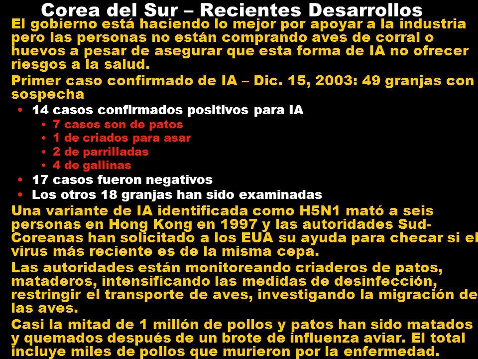 Taiwán – Recientes Desarrollos Taipei (Reuters, Enero 5, 2004) Taiwán reportó su primer caso de influenza aviar altamente contagiosa el miércoles (Dic.