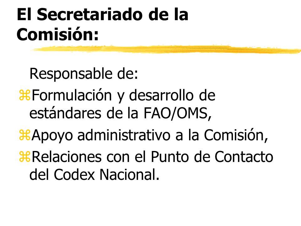 El Secretariado de la Comisión: Responsable de: z Formulación y desarrollo de estándares de la FAO/OMS, z Apoyo administrativo a la Comisión, z Relaci