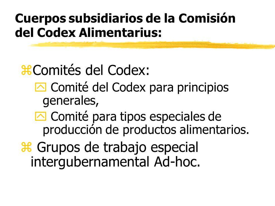 Cuerpos subsidiarios de la Comisión del Codex Alimentarius: zComités del Codex: y Comité del Codex para principios generales, y Comité para tipos espe
