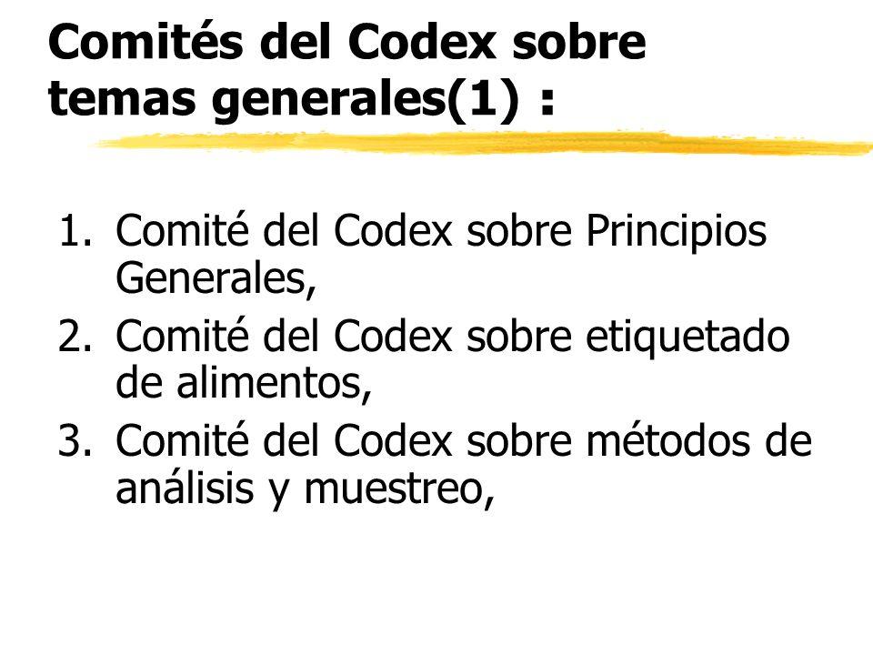 Comités del Codex sobre temas generales(1) : 1.Comité del Codex sobre Principios Generales, 2.Comité del Codex sobre etiquetado de alimentos, 3.Comité
