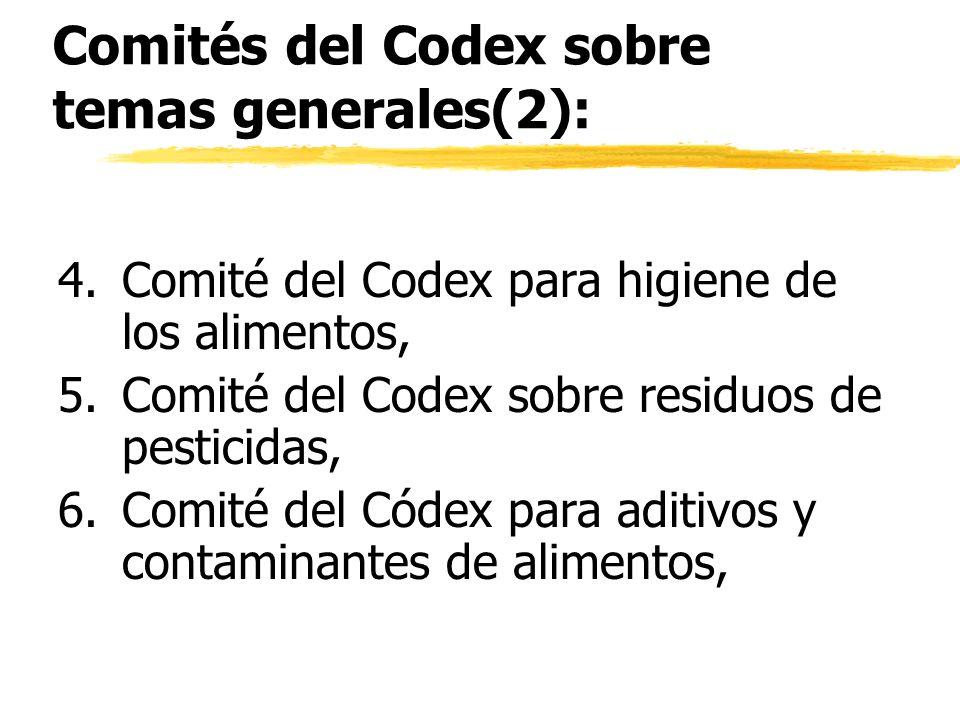 Comités del Codex sobre temas generales(2): 4.Comité del Codex para higiene de los alimentos, 5.Comité del Codex sobre residuos de pesticidas, 6.Comit