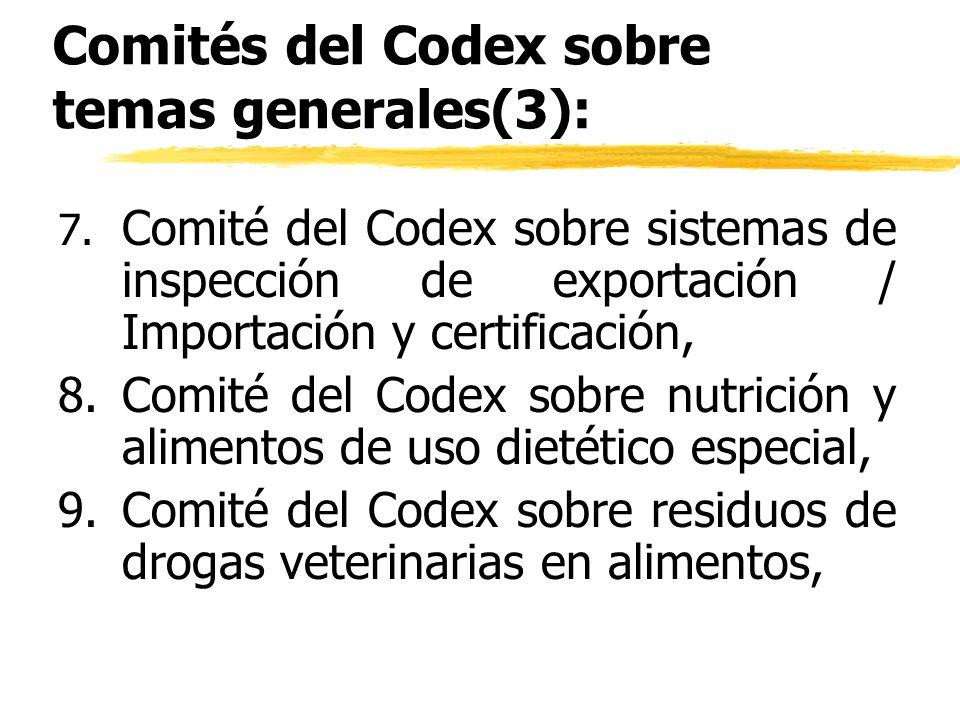 Comités del Codex sobre temas generales(3): 7. Comité del Codex sobre sistemas de inspección de exportación / Importación y certificación, 8.Comité de