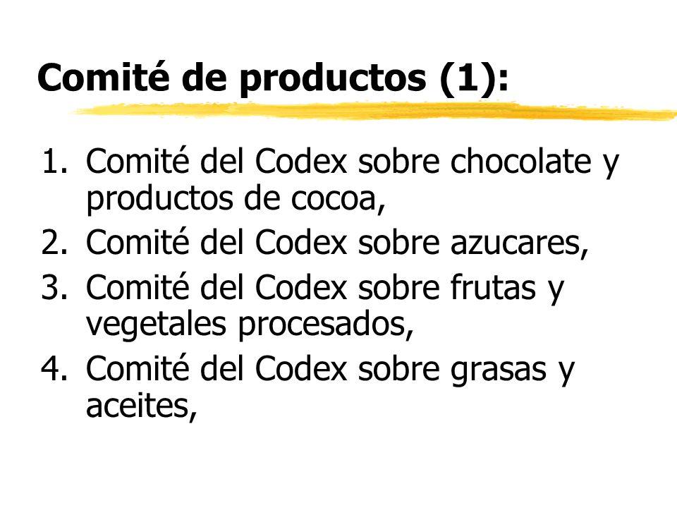 Comité de productos (1): 1.Comité del Codex sobre chocolate y productos de cocoa, 2.Comité del Codex sobre azucares, 3.Comité del Codex sobre frutas y