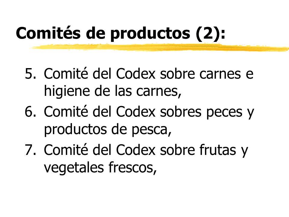 Comités de productos (2): 5.Comité del Codex sobre carnes e higiene de las carnes, 6.Comité del Codex sobres peces y productos de pesca, 7.Comité del