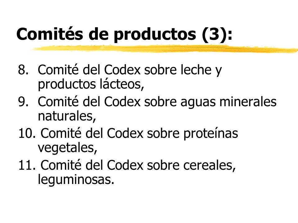 Comités de productos (3): 8.Comité del Codex sobre leche y productos lácteos, 9.Comité del Codex sobre aguas minerales naturales, 10. Comité del Codex