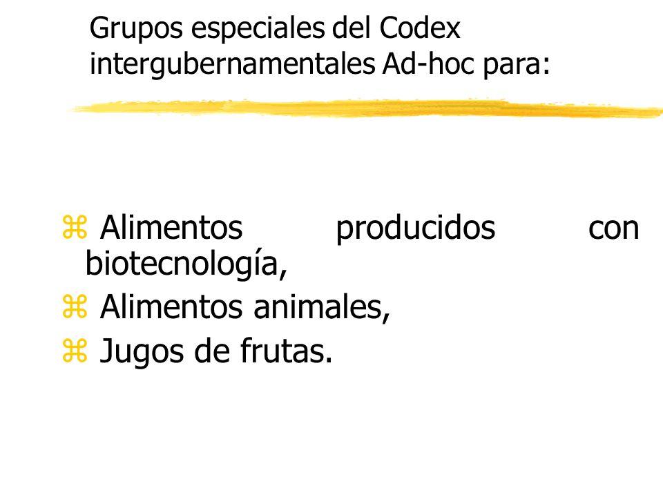 z Alimentos producidos con biotecnología, z Alimentos animales, z Jugos de frutas. Grupos especiales del Codex intergubernamentales Ad-hoc para: