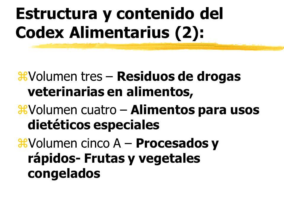 Estructura y contenido del Codex Alimentarius (2): z Volumen tres – Residuos de drogas veterinarias en alimentos, z Volumen cuatro – Alimentos para us