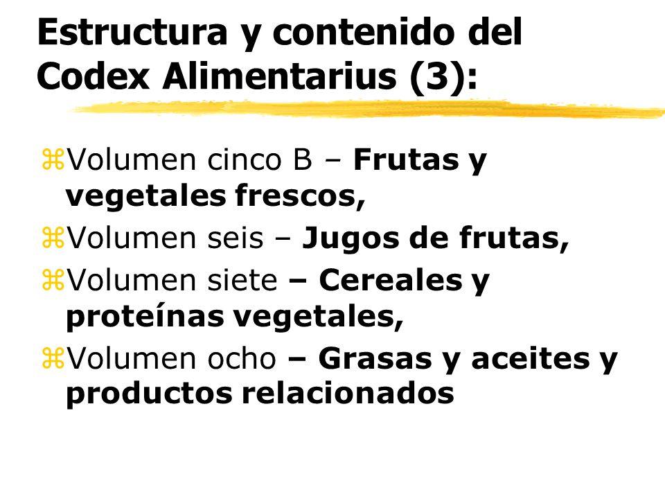 Estructura y contenido del Codex Alimentarius (3): z Volumen cinco B – Frutas y vegetales frescos, z Volumen seis – Jugos de frutas, z Volumen siete –