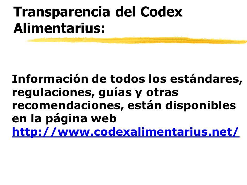 Transparencia del Codex Alimentarius: Información de todos los estándares, regulaciones, guías y otras recomendaciones, están disponibles en la página