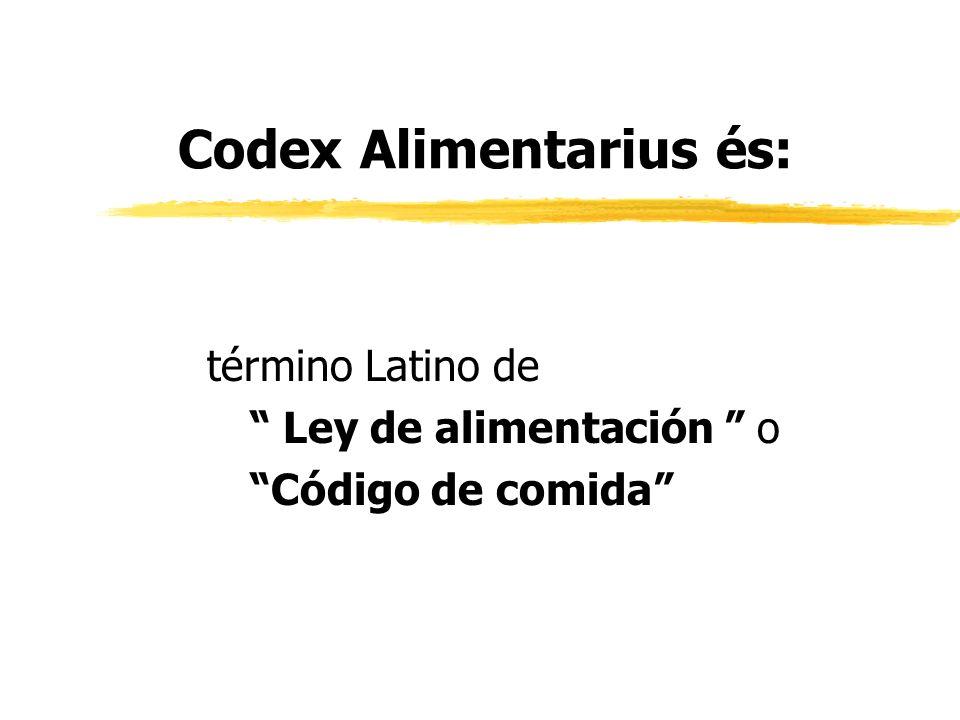 Comisión del Codex Alimentarius zFAO en 1961 y OMS 1963 pasaron la Resolución para establecer la Comisión del Codex Alimentarius, zResponsable para el Programa de Alimentación estándar de la Junta FAO/WHO.