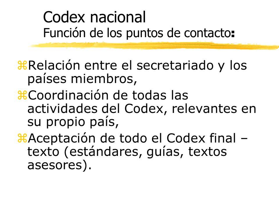 Codex nacional Función de los puntos de contacto : z Relación entre el secretariado y los países miembros, z Coordinación de todas las actividades del