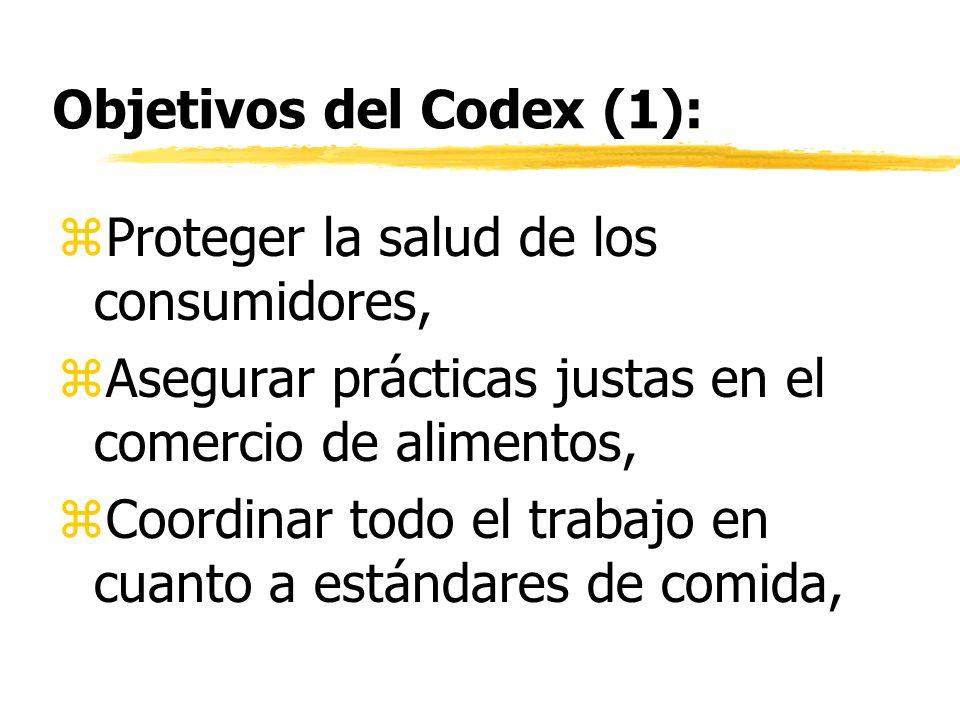 Objetivos del Codex (1): zProteger la salud de los consumidores, zAsegurar prácticas justas en el comercio de alimentos, zCoordinar todo el trabajo en