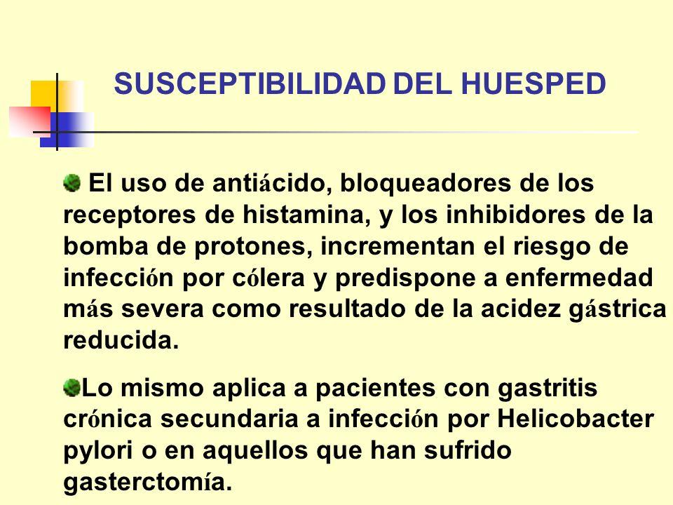 El uso de anti á cido, bloqueadores de los receptores de histamina, y los inhibidores de la bomba de protones, incrementan el riesgo de infecci ó n po