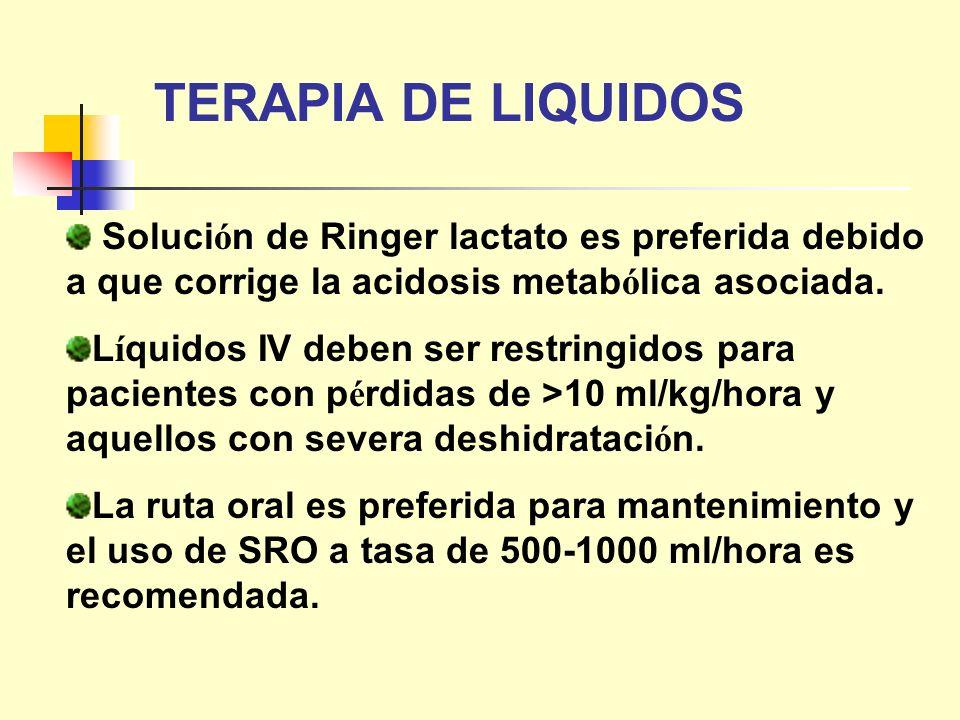 TERAPIA DE LIQUIDOS Soluci ó n de Ringer lactato es preferida debido a que corrige la acidosis metab ó lica asociada. L í quidos IV deben ser restring