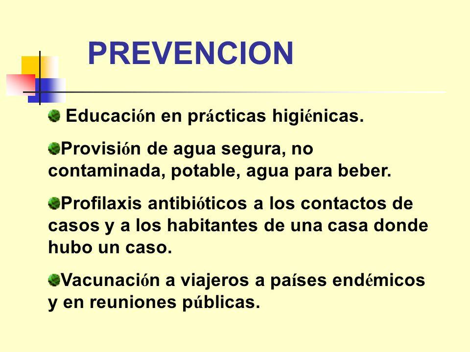 PREVENCION Educaci ó n en pr á cticas higi é nicas. Provisi ó n de agua segura, no contaminada, potable, agua para beber. Profilaxis antibi ó ticos a