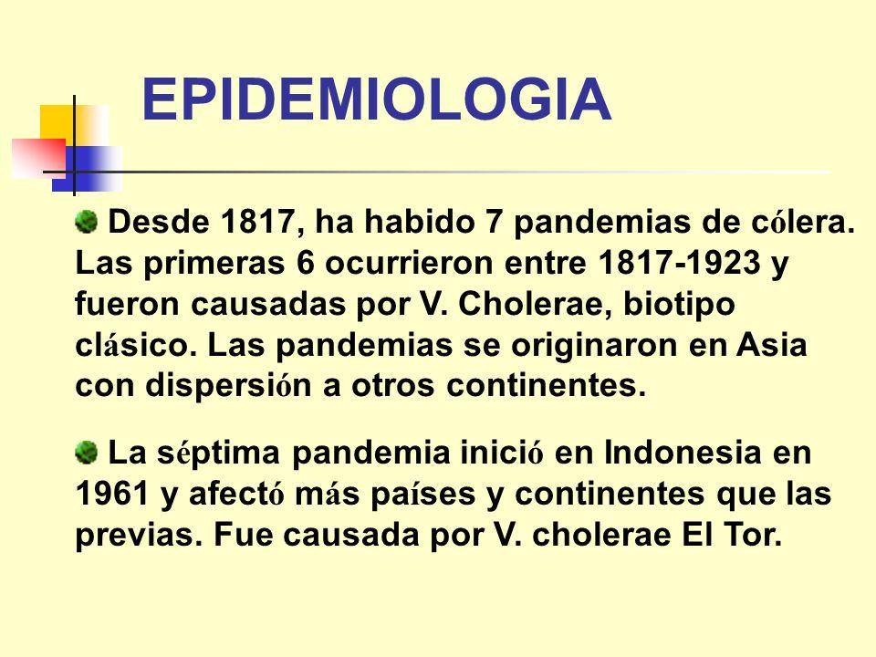 Desde 1817, ha habido 7 pandemias de c ó lera. Las primeras 6 ocurrieron entre 1817-1923 y fueron causadas por V. Cholerae, biotipo cl á sico. Las pan