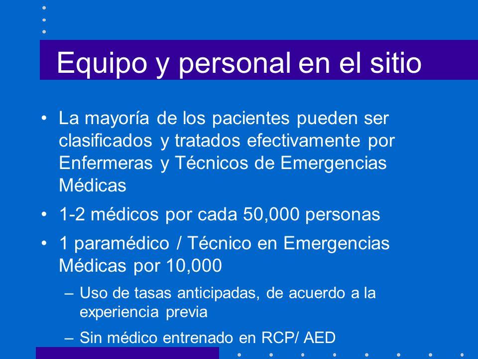 Equipo y personal en el sitio La mayoría de los pacientes pueden ser clasificados y tratados efectivamente por Enfermeras y Técnicos de Emergencias Mé