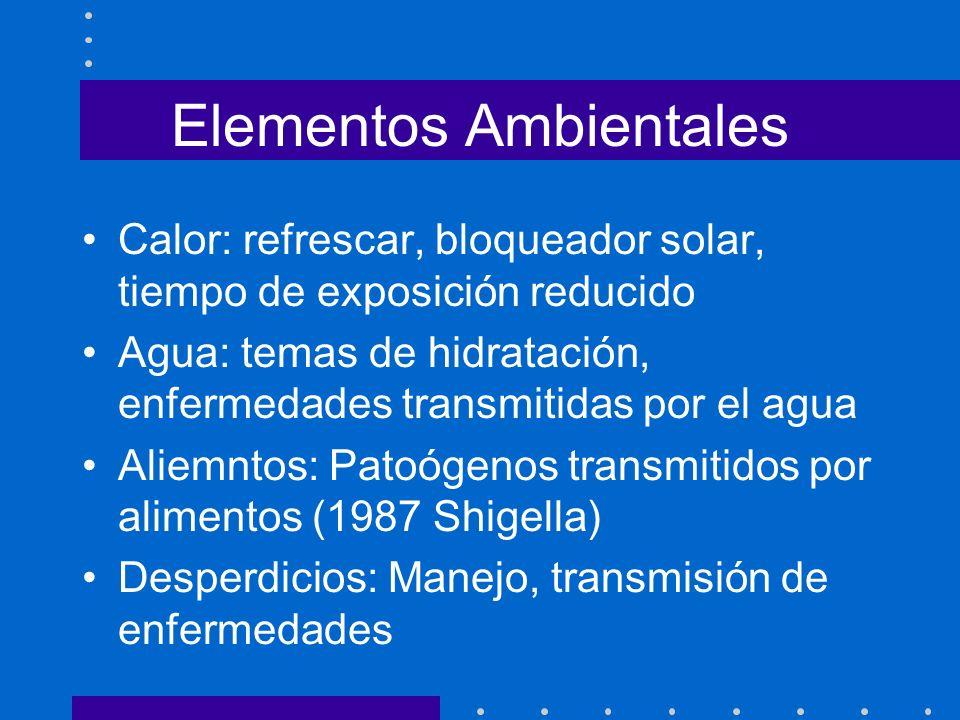 Elementos Ambientales Calor: refrescar, bloqueador solar, tiempo de exposición reducido Agua: temas de hidratación, enfermedades transmitidas por el a