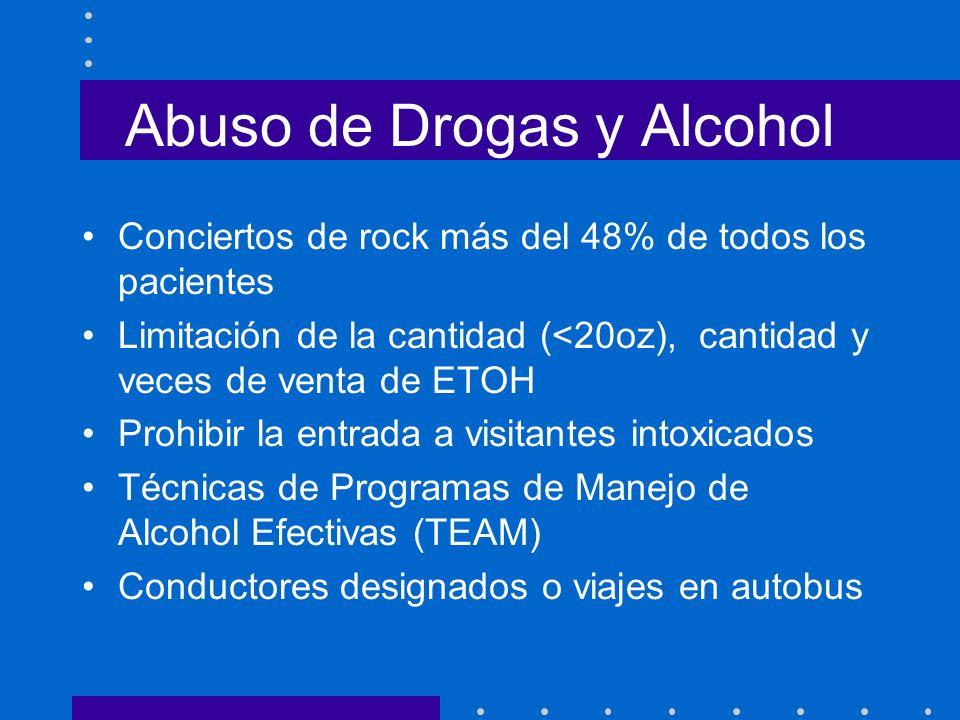 Abuso de Drogas y Alcohol Conciertos de rock más del 48% de todos los pacientes Limitación de la cantidad (<20oz), cantidad y veces de venta de ETOH P