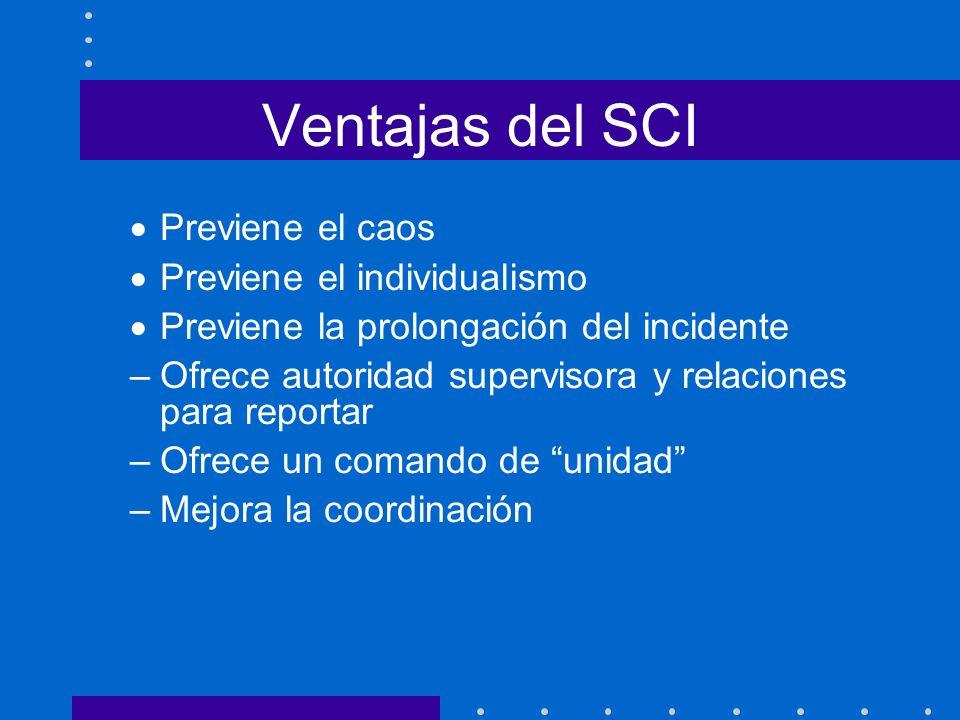 Ventajas del SCI Previene el caos Previene el individualismo Previene la prolongación del incidente –Ofrece autoridad supervisora y relaciones para re