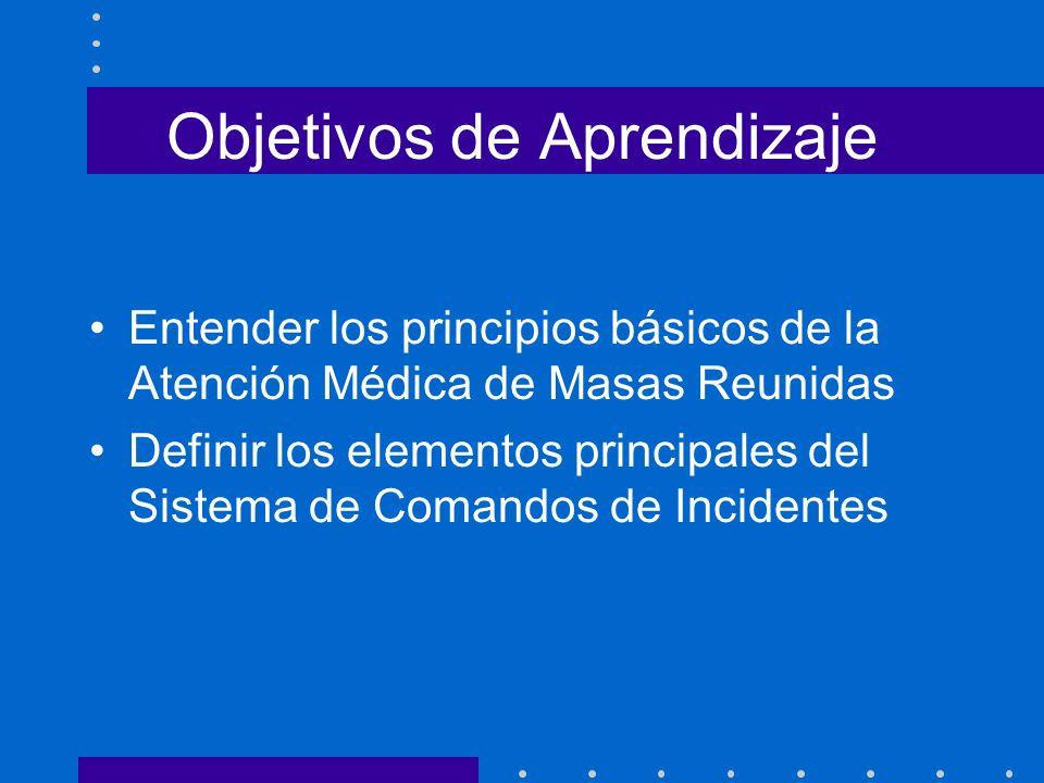 Objetivos a Alcanzar Al final del curso el estudiante será capaz de: Entender las necesidades y demandas de la atención médica de masas reunidas Entender la estructura básica del Sistema de Comandos de Incidentes (SCI)