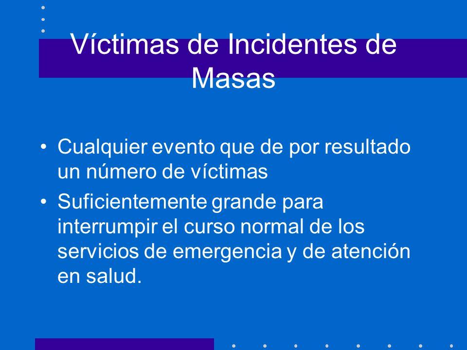 Víctimas de Incidentes de Masas Cualquier evento que de por resultado un número de víctimas Suficientemente grande para interrumpir el curso normal de