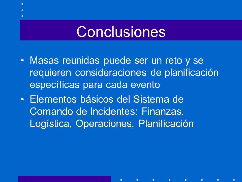 Conclusiones Masas reunidas puede ser un reto y se requieren consideraciones de planificación específicas para cada evento Elementos básicos del Siste