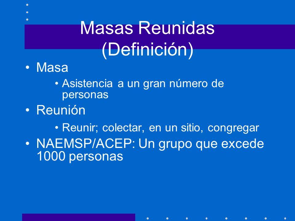 Masas Reunidas (Definición) Masa Asistencia a un gran número de personas Reunión Reunir; colectar, en un sitio, congregar NAEMSP/ACEP: Un grupo que ex