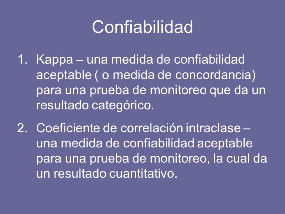 Confiabilidad 1.Kappa – una medida de confiabilidad aceptable ( o medida de concordancia) para una prueba de monitoreo que da un resultado categórico.