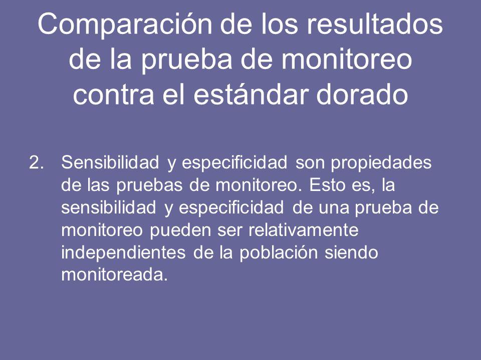 Comparación de los resultados de la prueba de monitoreo contra el estándar dorado 2.Sensibilidad y especificidad son propiedades de las pruebas de monitoreo.