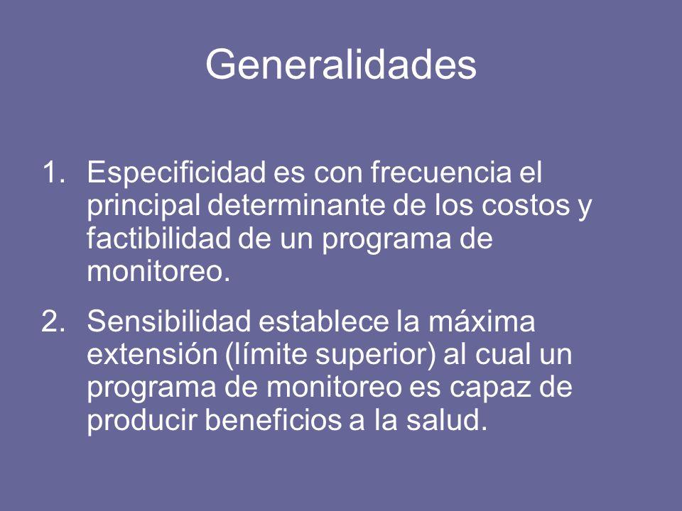 Generalidades 1.Especificidad es con frecuencia el principal determinante de los costos y factibilidad de un programa de monitoreo.