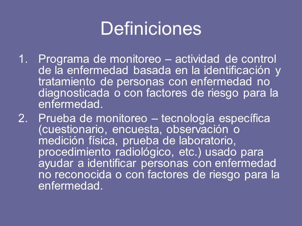 Definiciones 1.Programa de monitoreo – actividad de control de la enfermedad basada en la identificación y tratamiento de personas con enfermedad no diagnosticada o con factores de riesgo para la enfermedad.