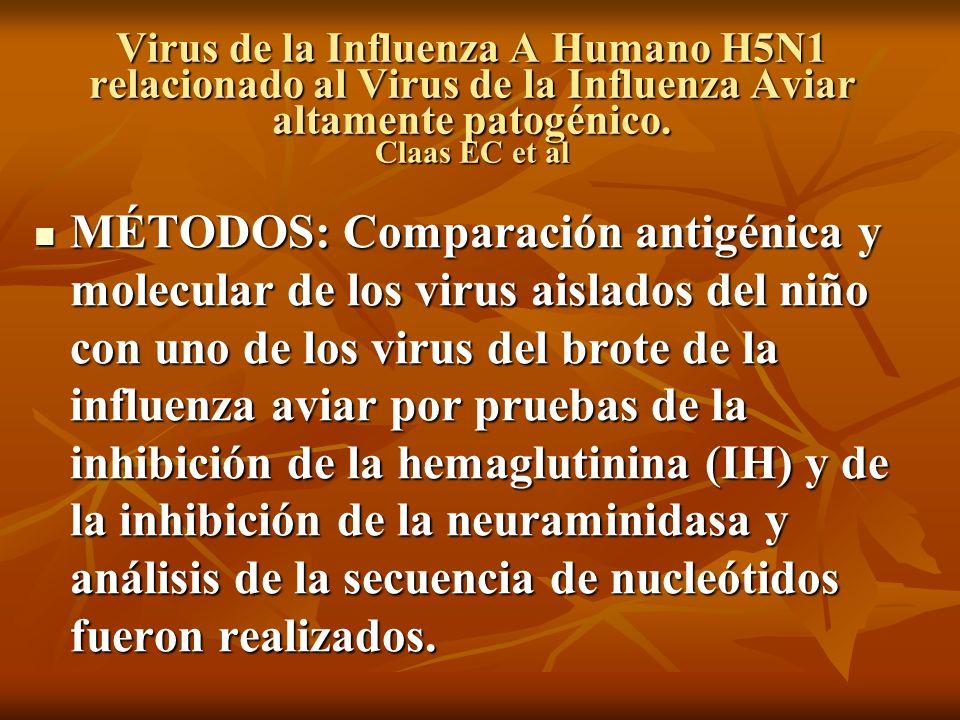 Virus de la Influenza A Humano H5N1 relacionado al Virus de la Influenza Aviar altamente patogénico. Claas EC et al MÉTODOS: Comparación antigénica y