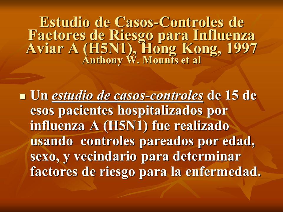 Estudio de Casos-Controles de Factores de Riesgo para Influenza Aviar A (H5N1), Hong Kong, 1997 Anthony W. Mounts et al Un estudio de casos-controles