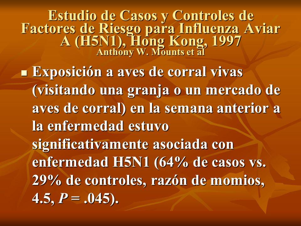 Estudio de Casos y Controles de Factores de Riesgo para Influenza Aviar A (H5N1), Hong Kong, 1997 Anthony W. Mounts et al Exposición a aves de corral