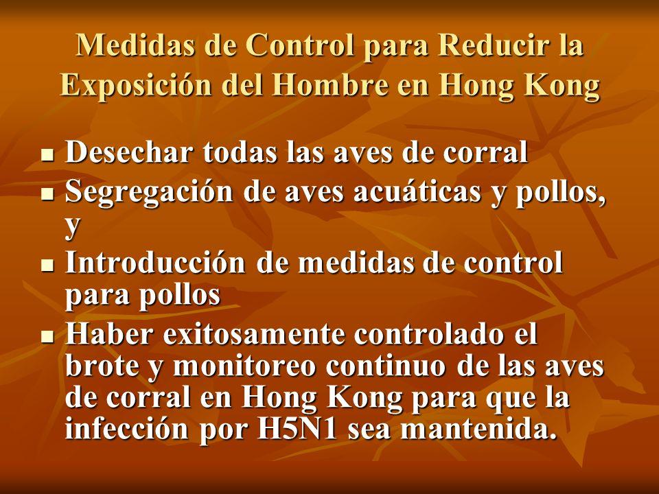 Medidas de Control para Reducir la Exposición del Hombre en Hong Kong Desechar todas las aves de corral Desechar todas las aves de corral Segregación