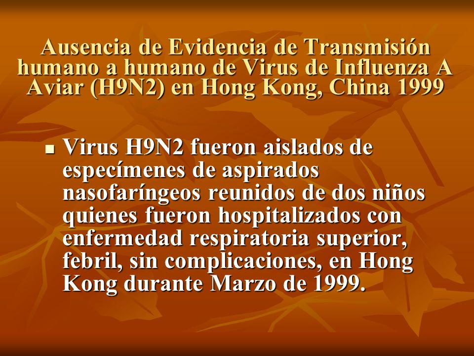 Ausencia de Evidencia de Transmisión humano a humano de Virus de Influenza A Aviar (H9N2) en Hong Kong, China 1999 Virus H9N2 fueron aislados de espec